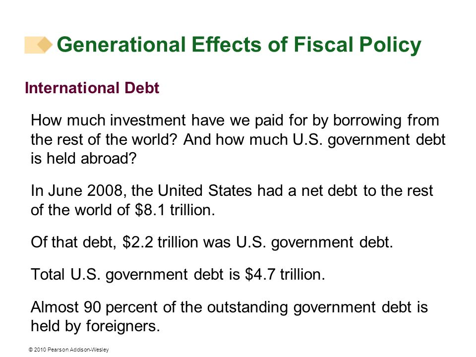 Generational Effects of Fiscal Policy