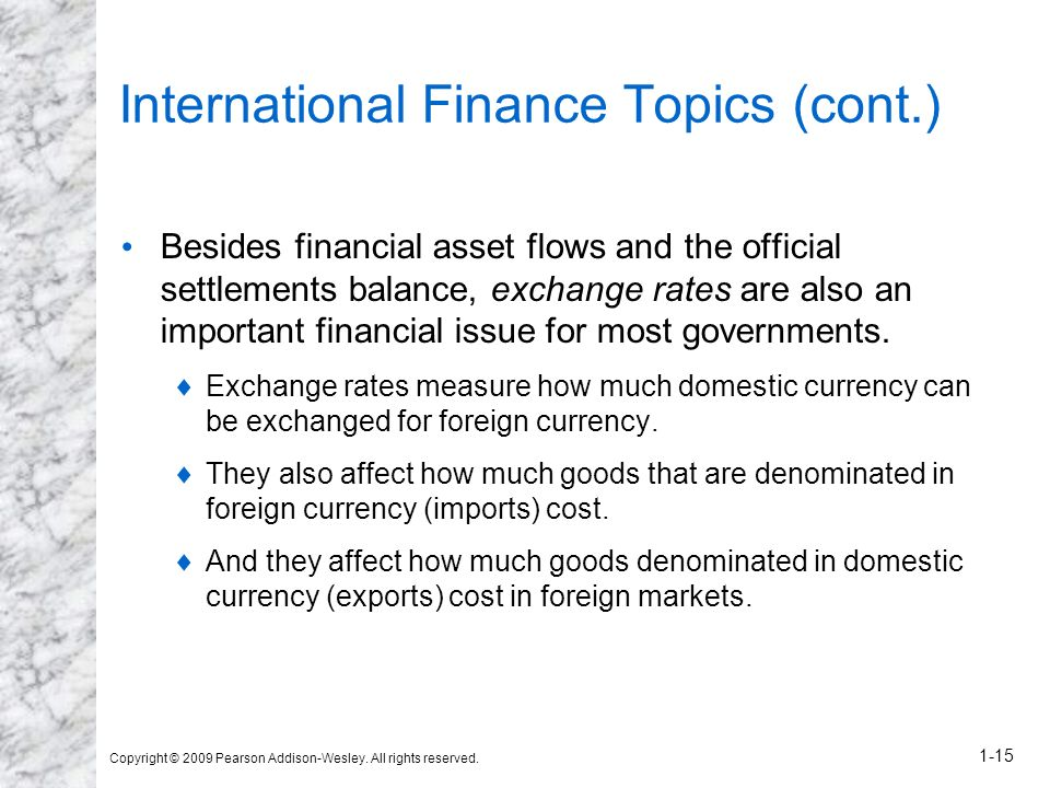 International Finance Topics (cont.)