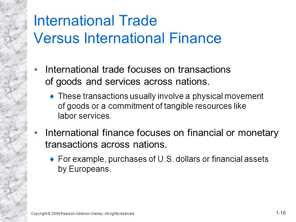 International Trade Versus International Finance