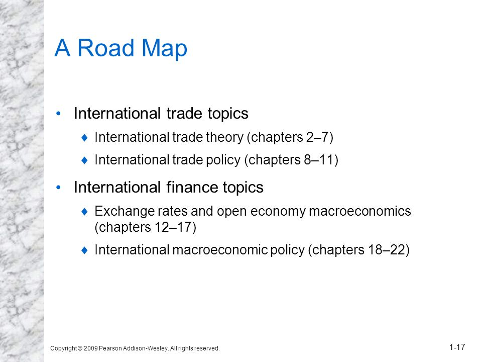 A Road Map International trade topics International finance topics