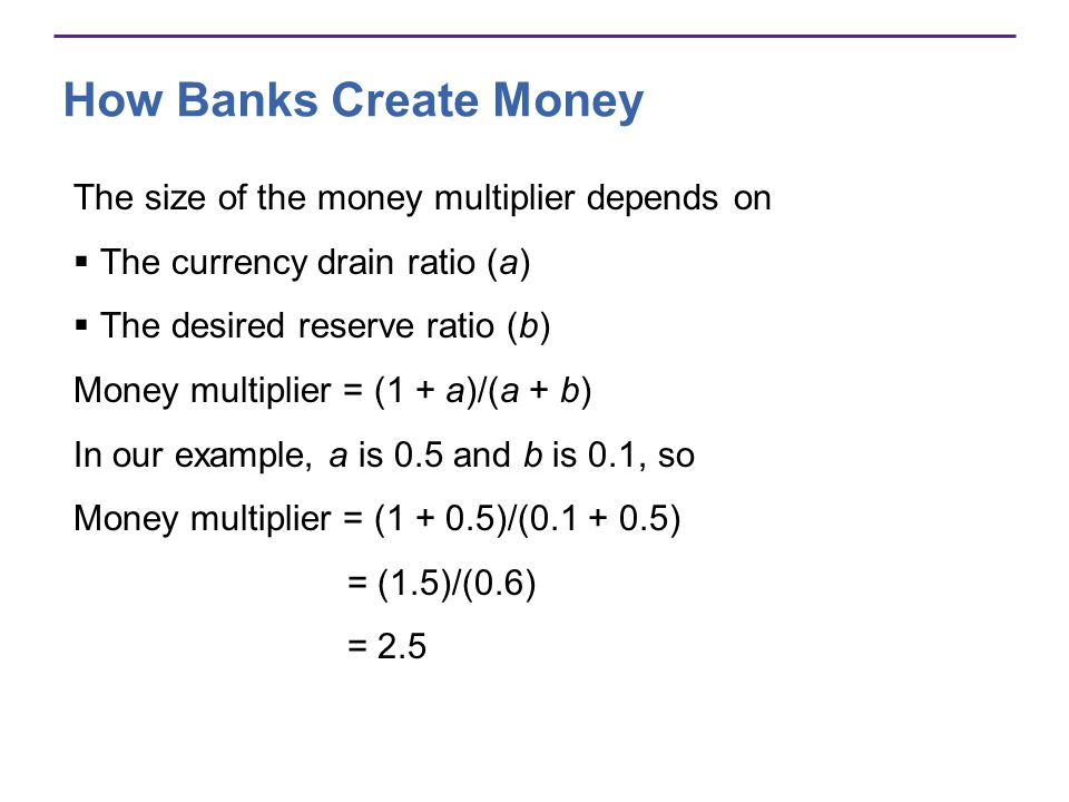 How Banks Create Money The size of the money multiplier depends on