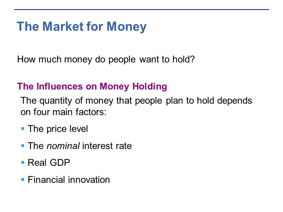The Market for Money How much money do people want to hold