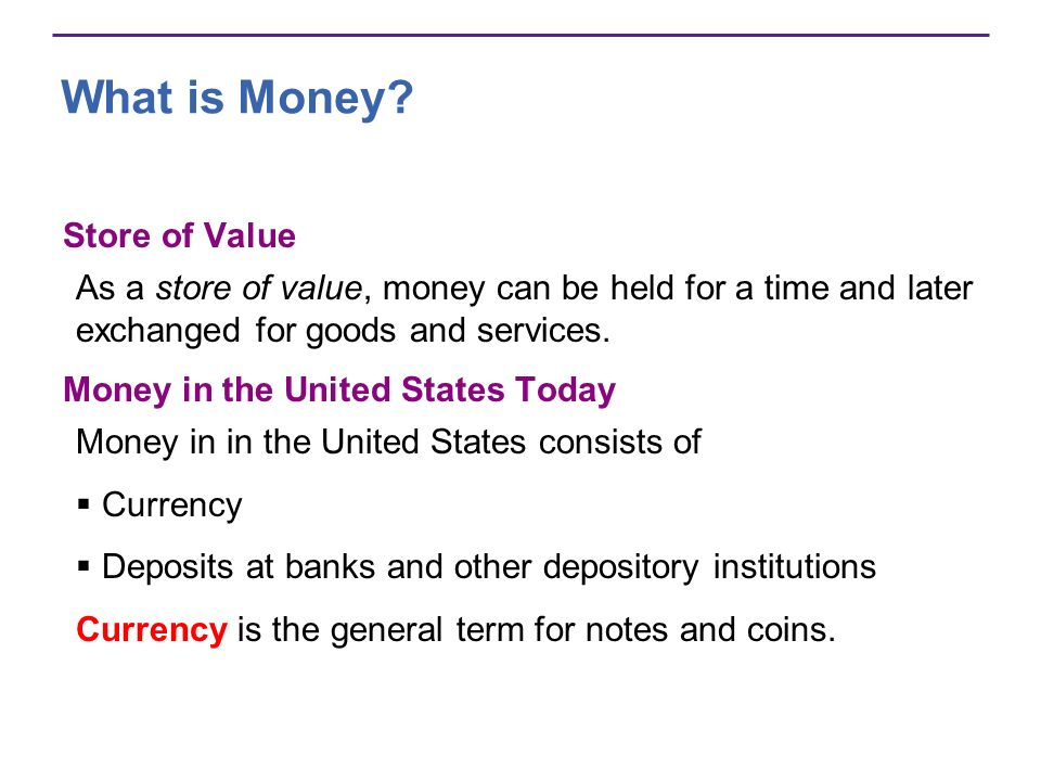 What is Money Store of Value