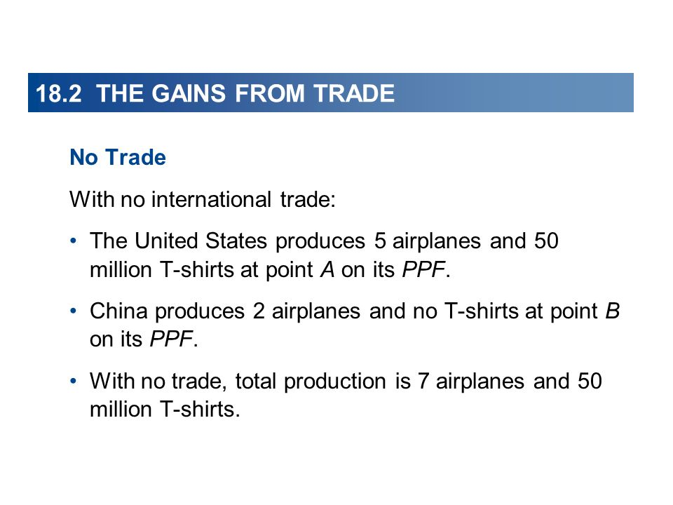 18.2 THE GAINS FROM TRADE No Trade With no international trade: