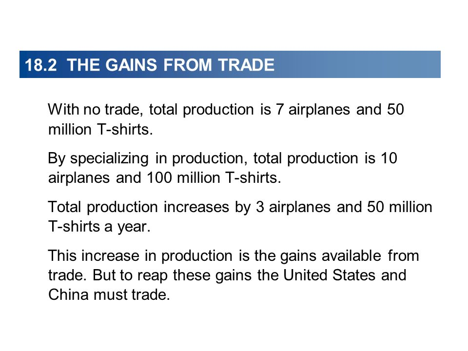 18.2 THE GAINS FROM TRADE With no trade, total production is 7 airplanes and 50 million T-shirts.
