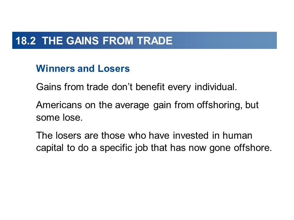 18.2 THE GAINS FROM TRADE Winners and Losers