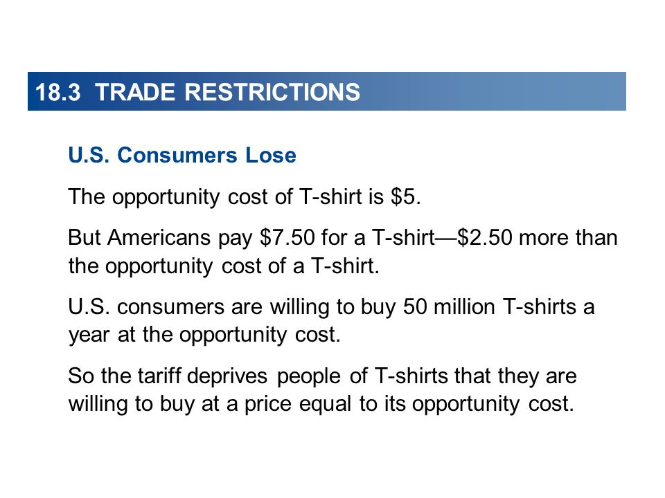 18.3 TRADE RESTRICTIONS U.S. Consumers Lose