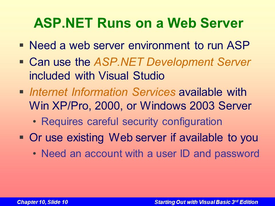ASP.NET Runs on a Web Server