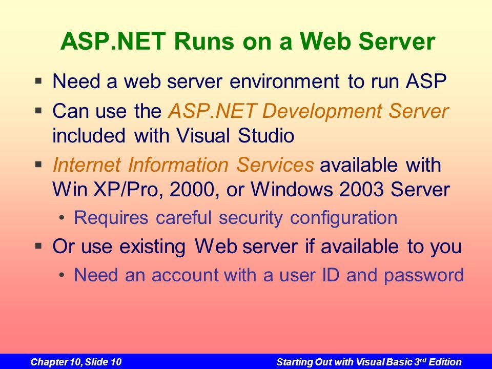 ASP.NET Runs on a Web Server