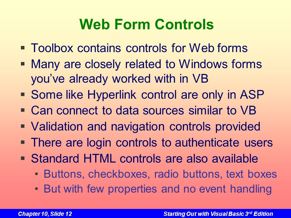 Web Form Controls Toolbox contains controls for Web forms