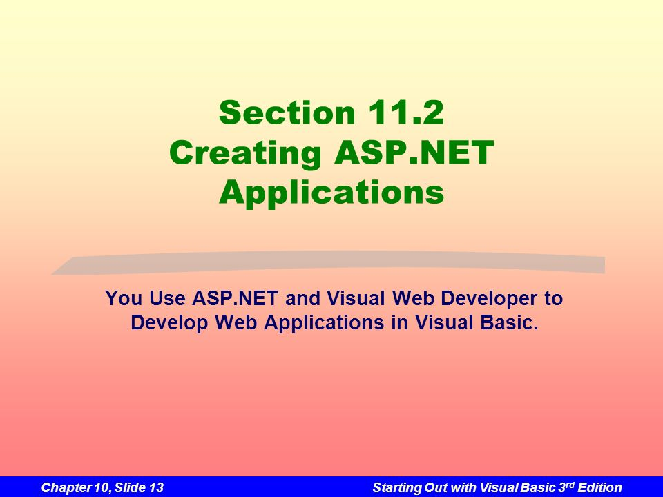 Section 11.2 Creating ASP.NET Applications