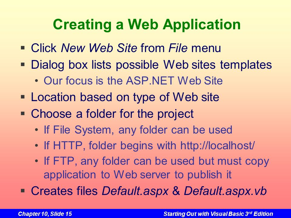 Creating a Web Application