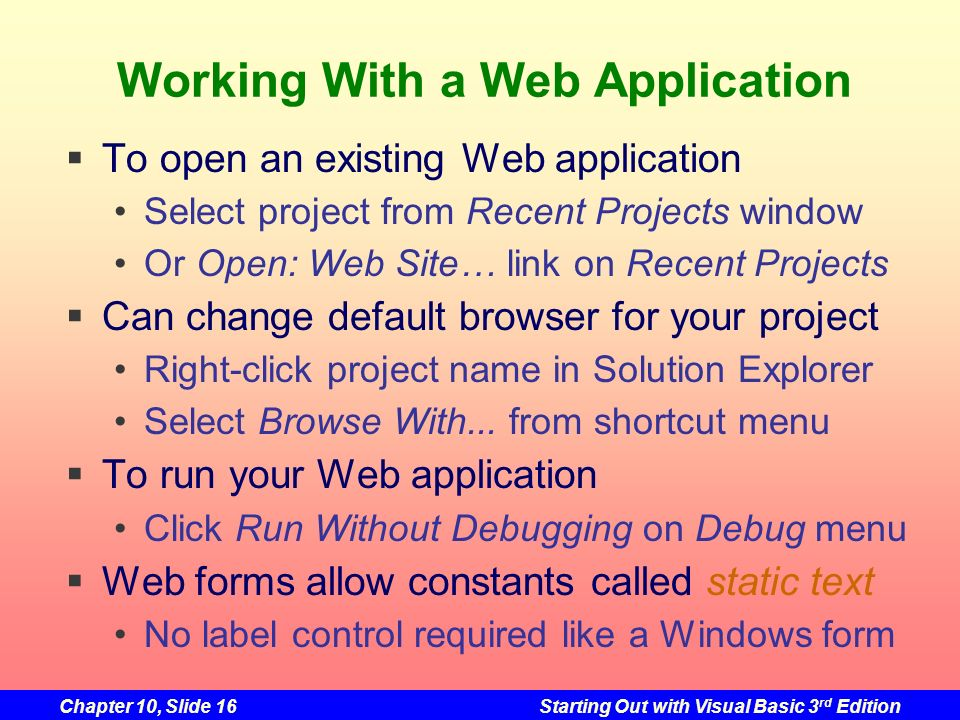 Working With a Web Application