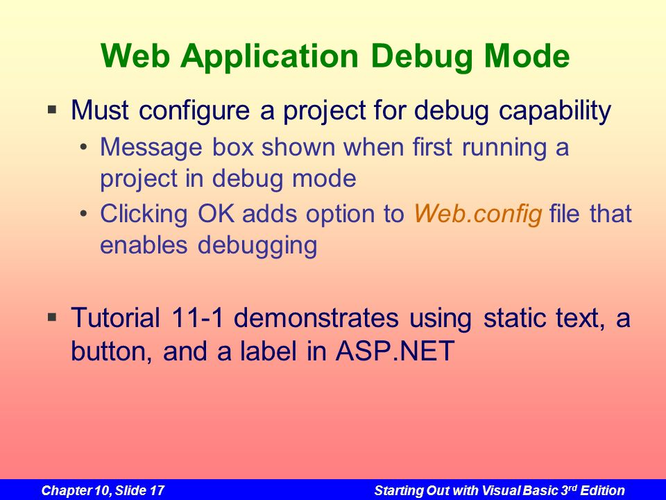Web Application Debug Mode