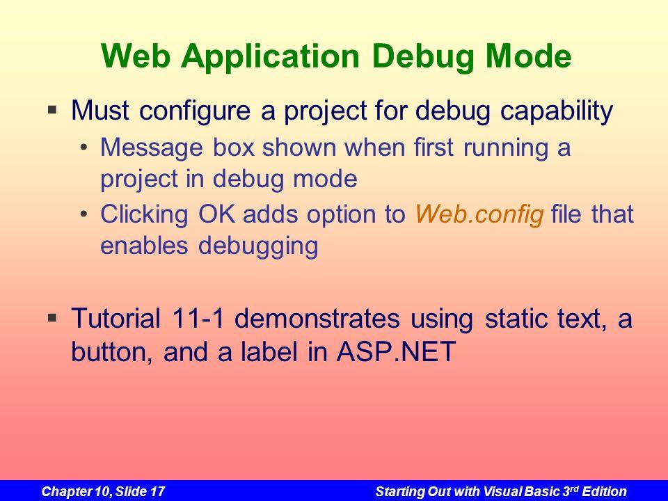 Web Application Debug Mode