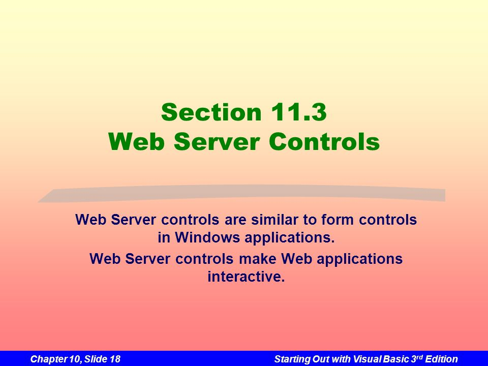 Section 11.3 Web Server Controls