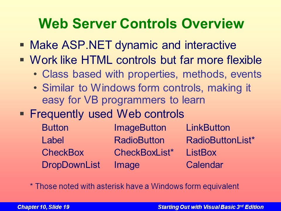 Web Server Controls Overview