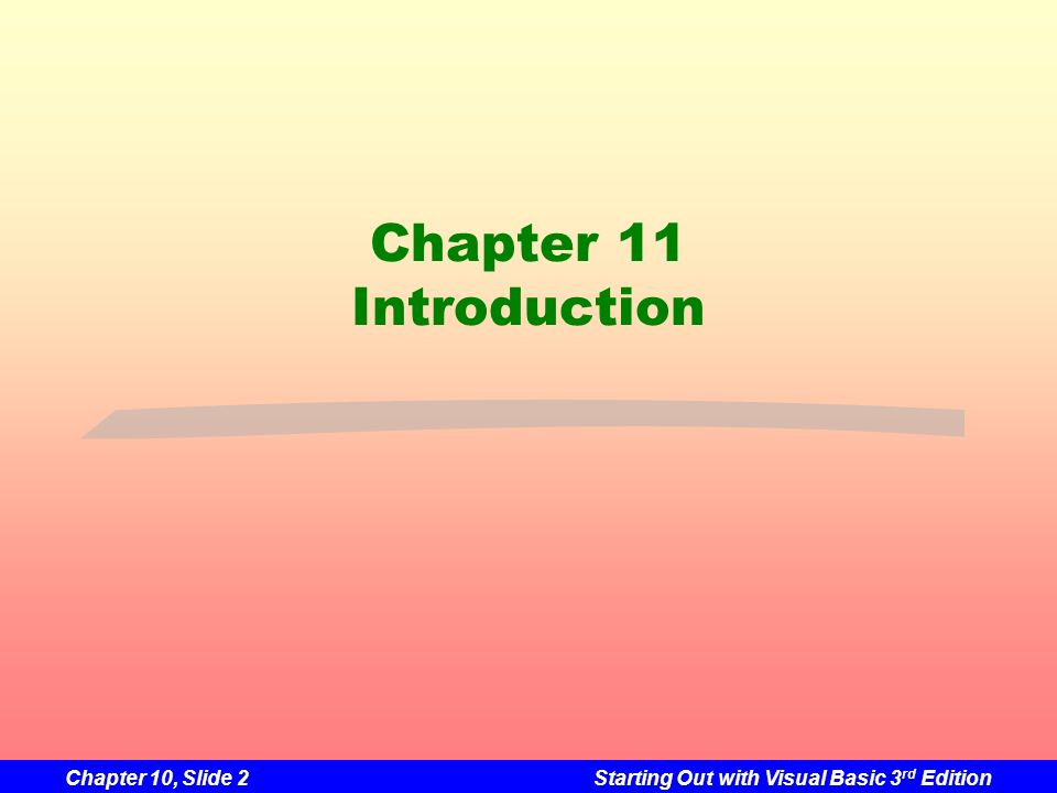 Chapter 11 Introduction