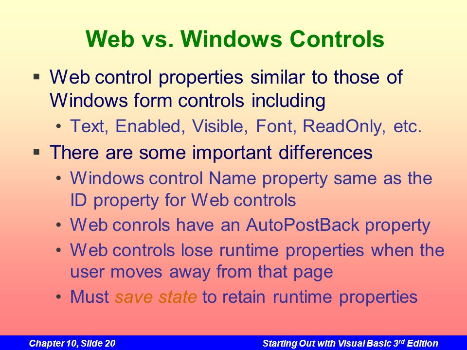 Web vs. Windows Controls