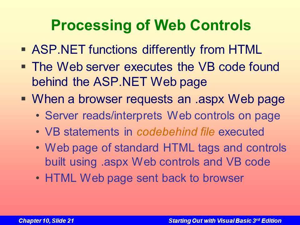Processing of Web Controls