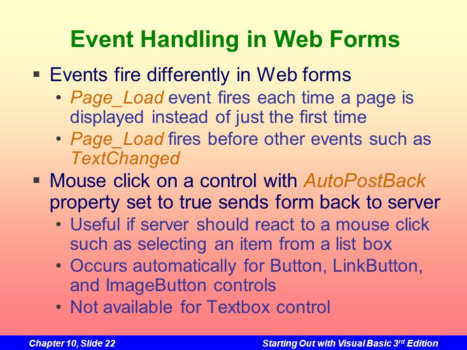 Event Handling in Web Forms