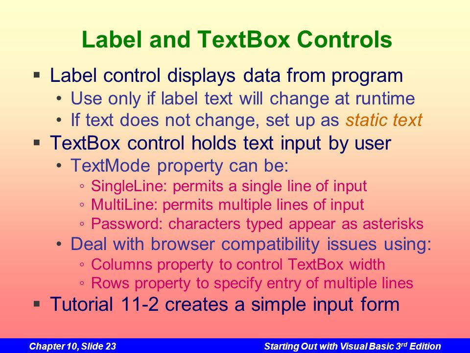 Label and TextBox Controls