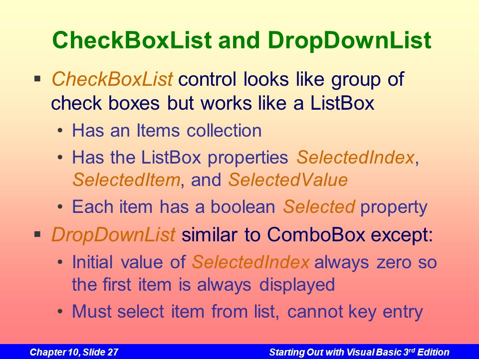 CheckBoxList and DropDownList