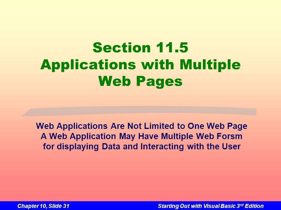 Section 11.5 Applications with Multiple Web Pages