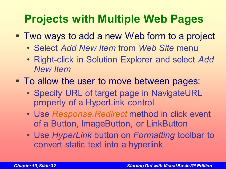 Projects with Multiple Web Pages