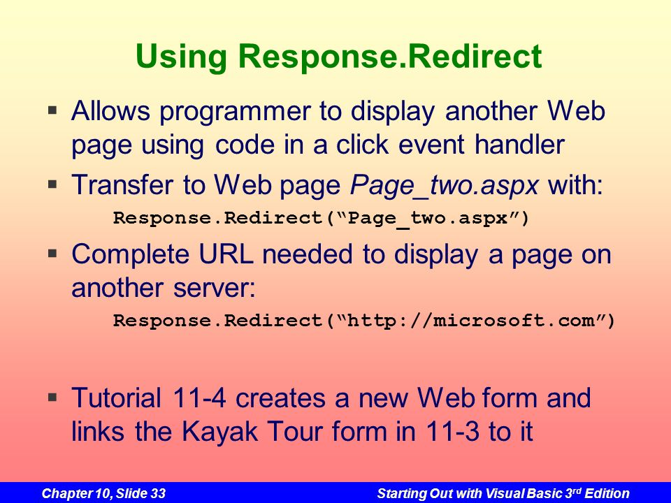 Using Response.Redirect