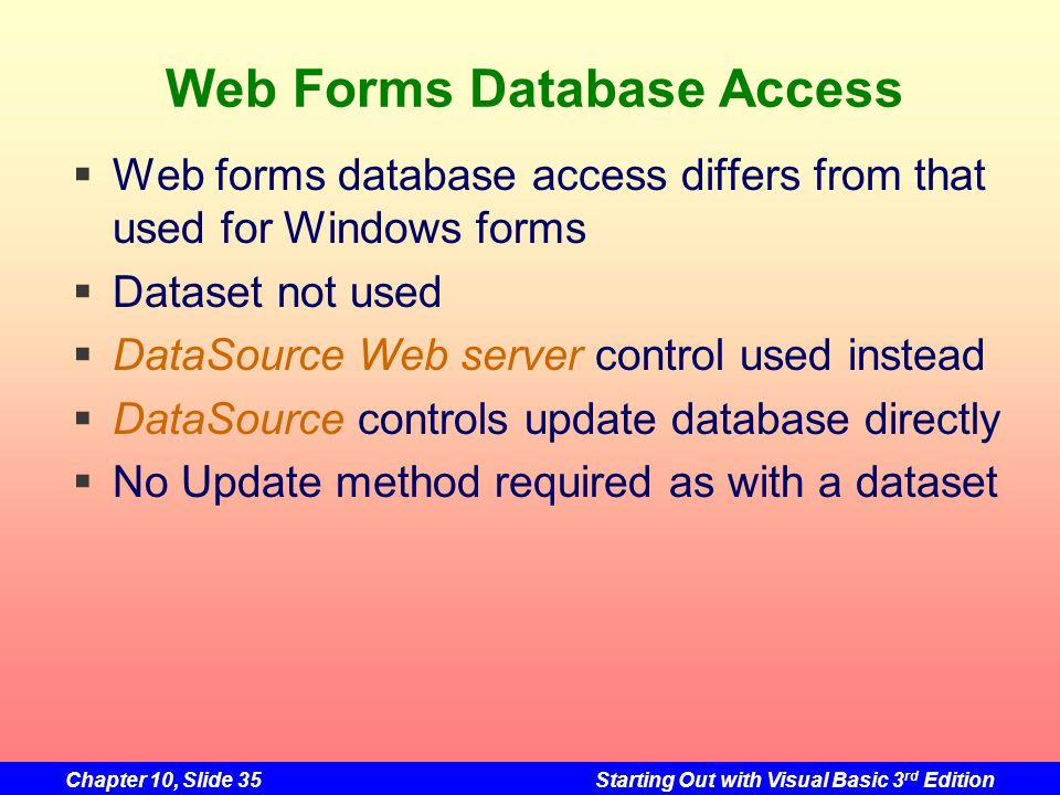 Web Forms Database Access