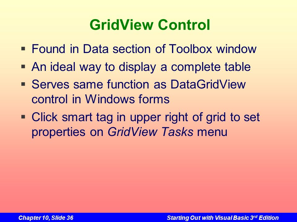 GridView Control Found in Data section of Toolbox window