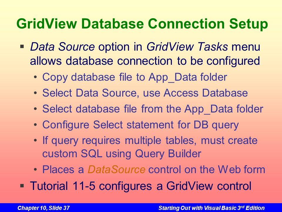 GridView Database Connection Setup