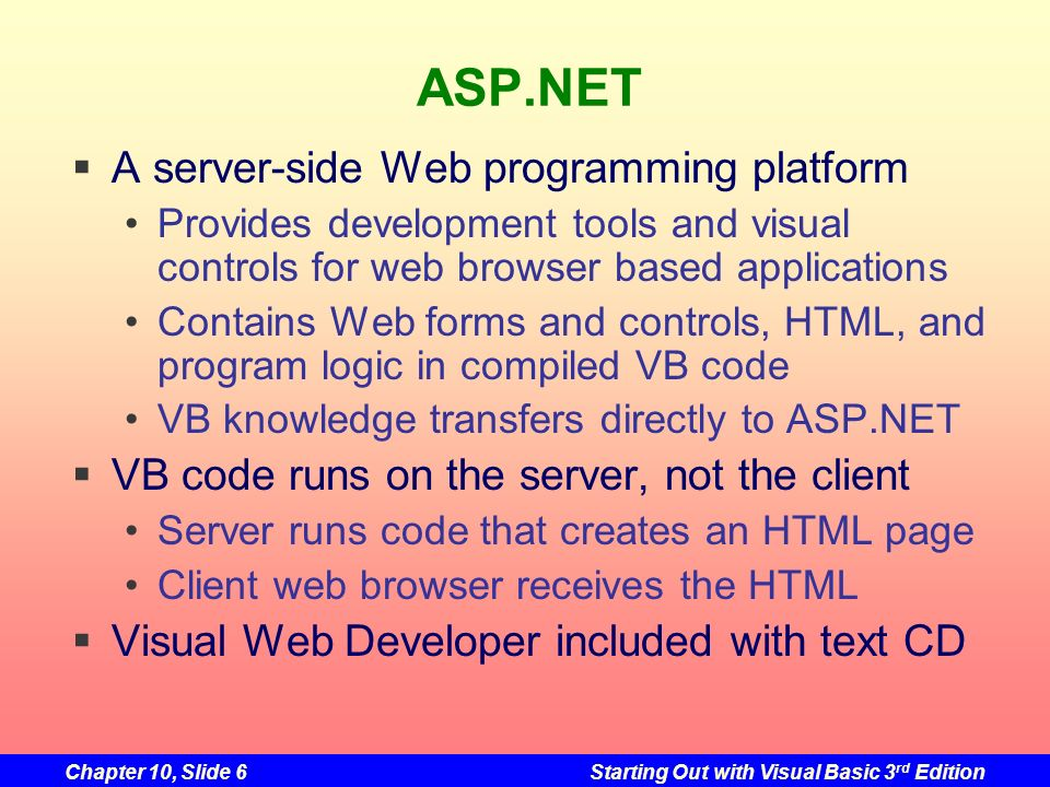 ASP.NET A server-side Web programming platform