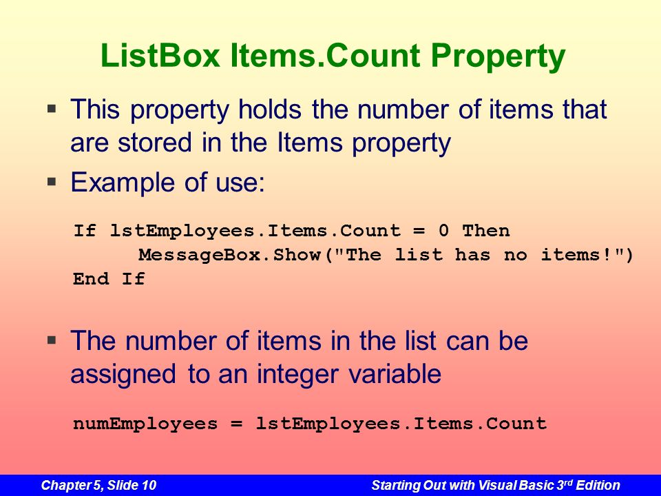 ListBox Items.Count Property