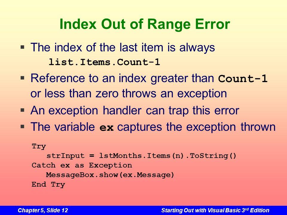 Index Out of Range Error