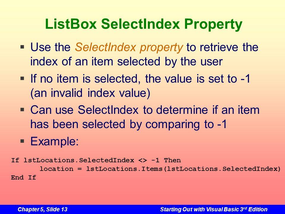 ListBox SelectIndex Property