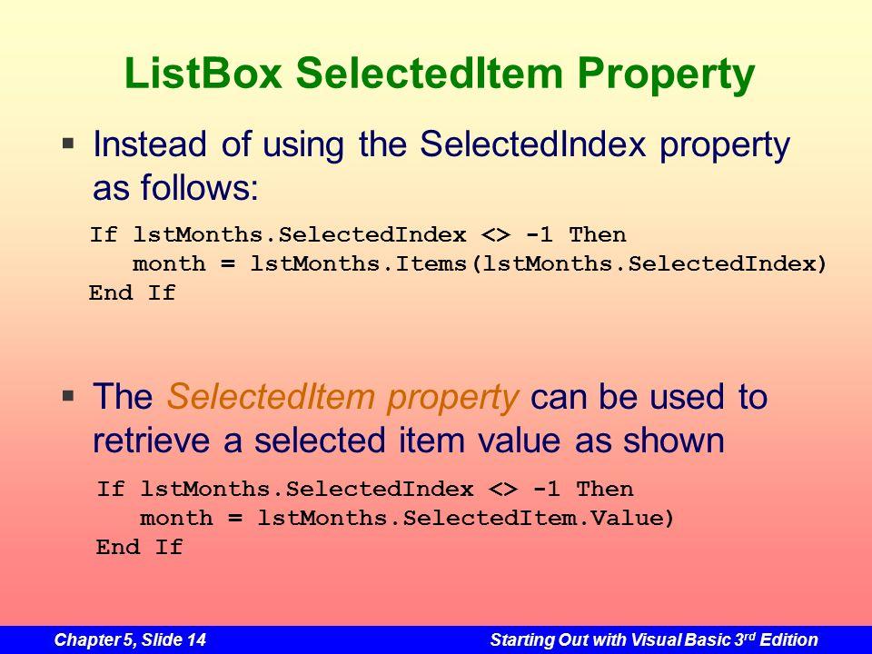 ListBox SelectedItem Property