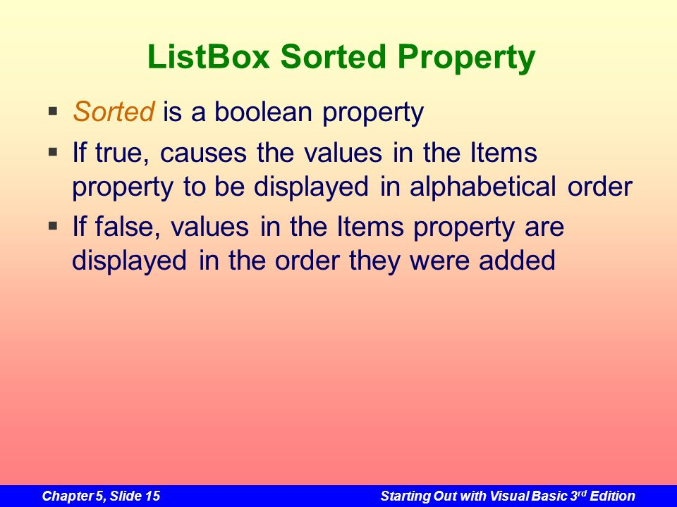 ListBox Sorted Property