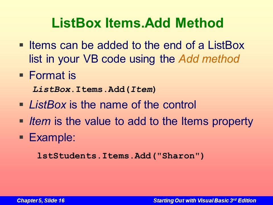 ListBox Items.Add Method