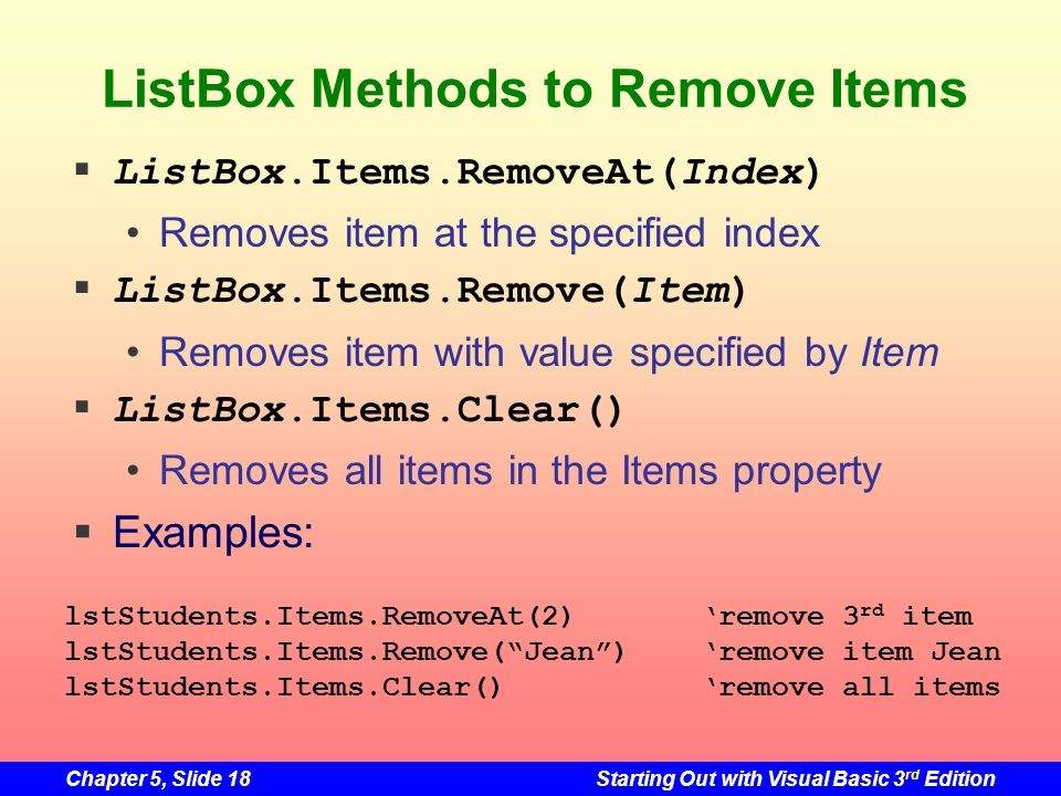 ListBox Methods to Remove Items