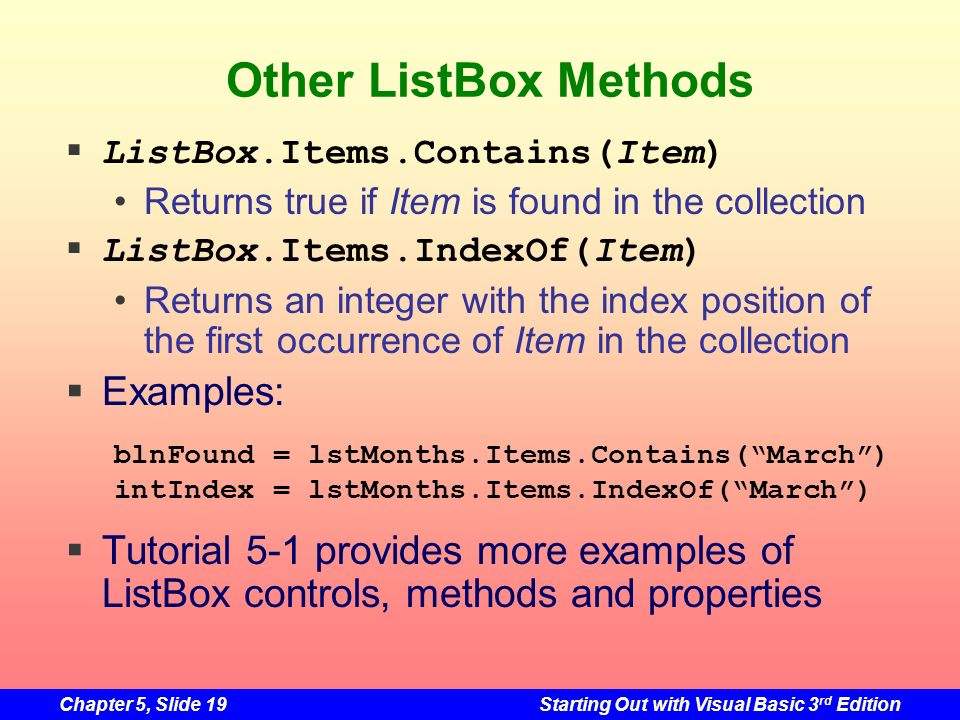Other ListBox Methods Examples: