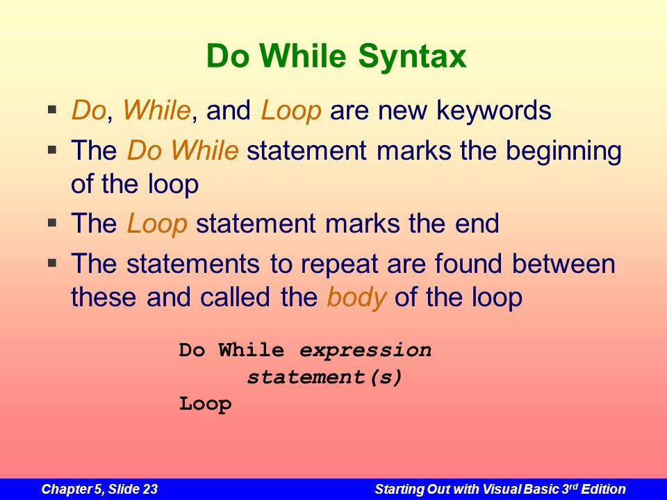 Do While Syntax Do, While, and Loop are new keywords