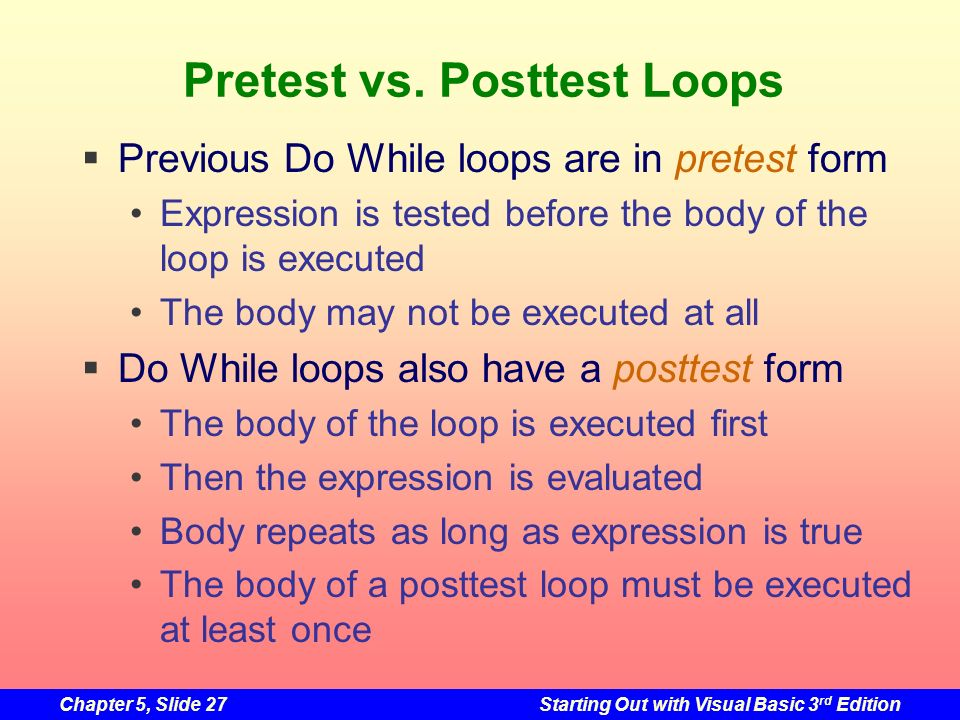 Pretest vs. Posttest Loops