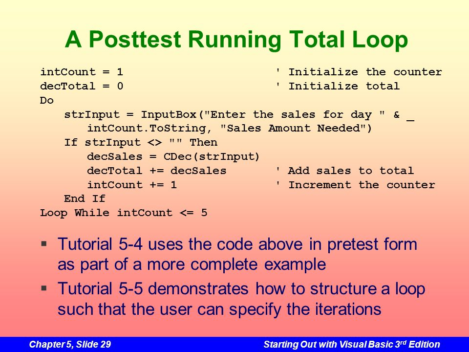 A Posttest Running Total Loop
