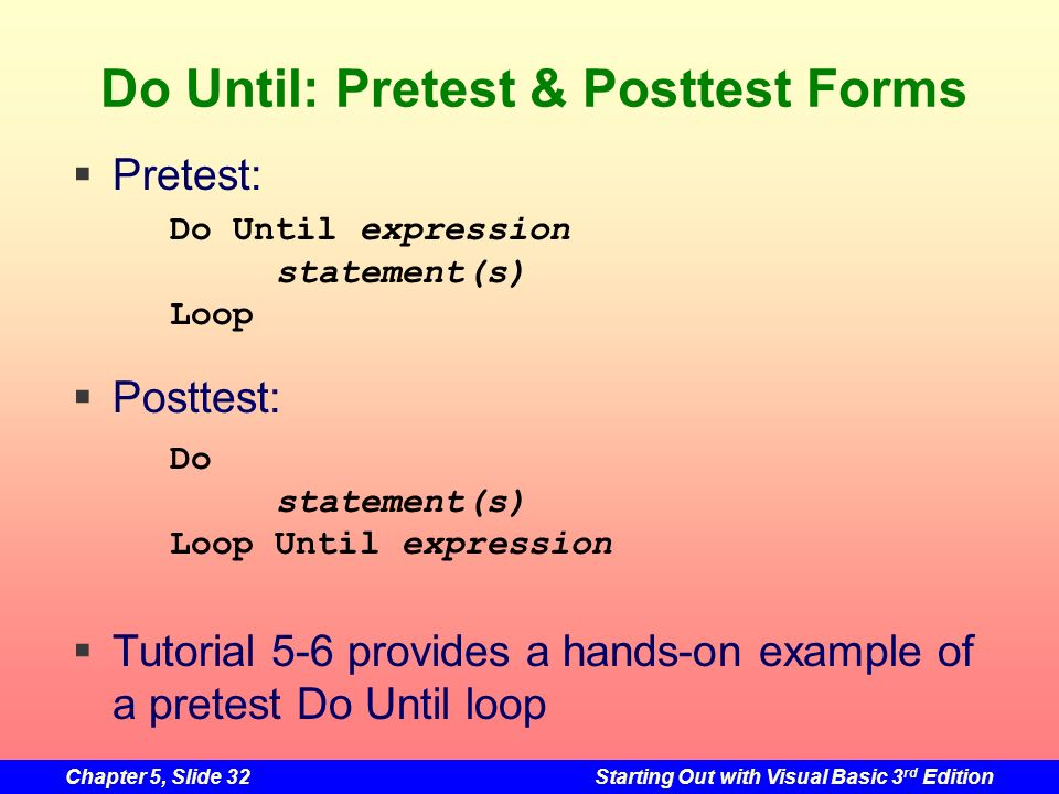 Do Until: Pretest & Posttest Forms