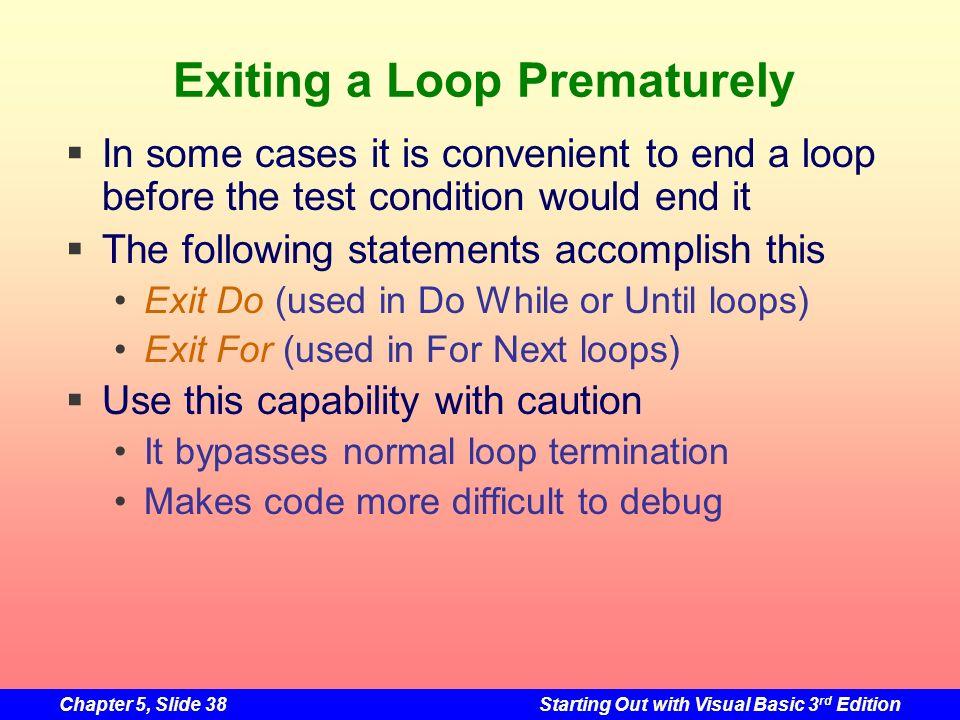 Exiting a Loop Prematurely