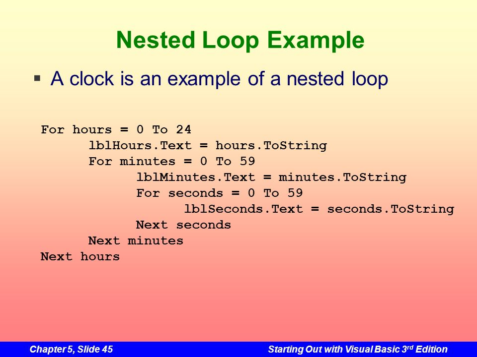 Nested Loop Example A clock is an example of a nested loop