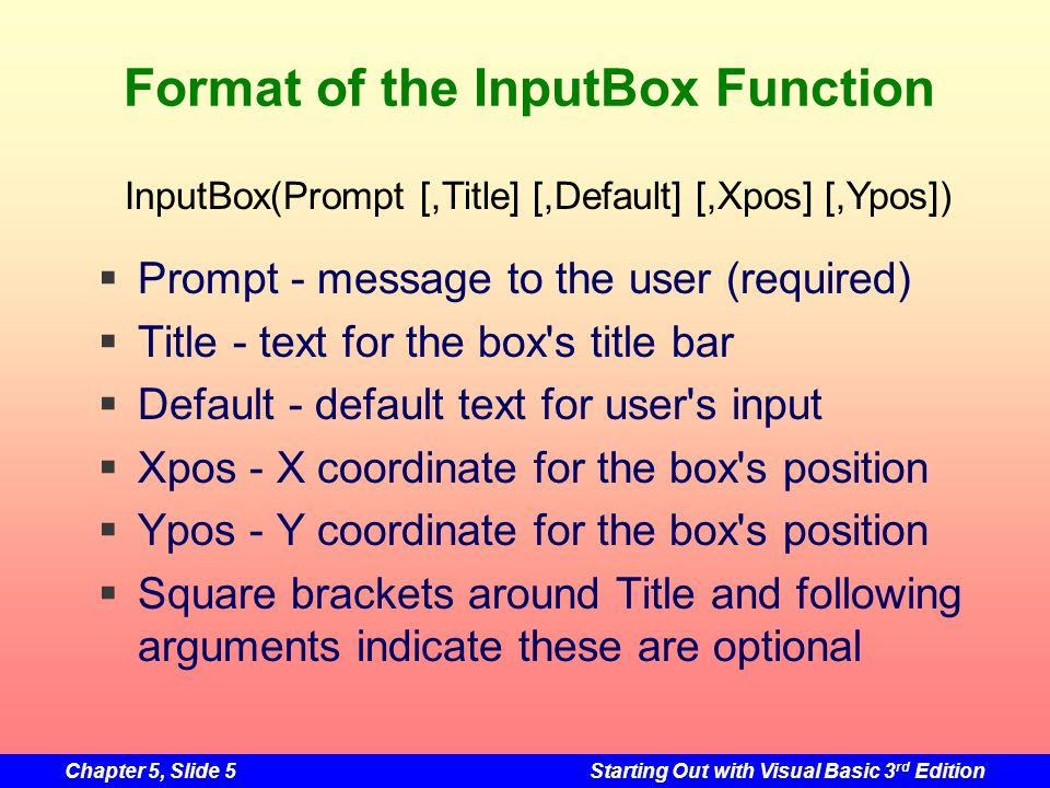 Format of the InputBox Function