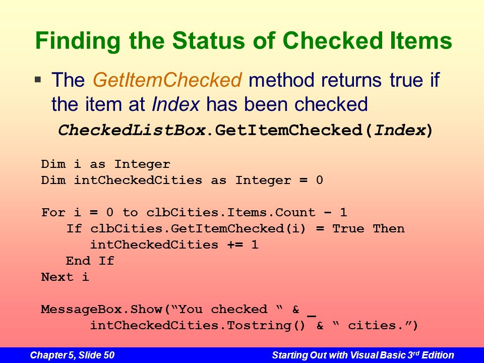 Finding the Status of Checked Items